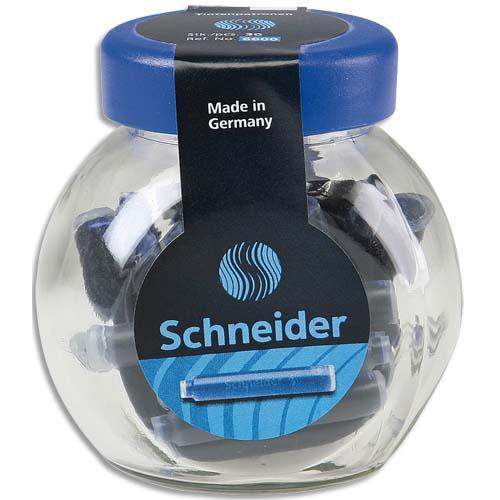 Pot de 30 cartouches Schneider encre bleu royale effaçable