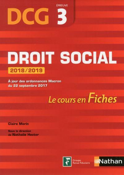 Droit social 2018-2019 DCG, Épreuve 3, Le cours en Fiches
