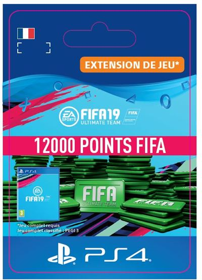 Code de téléchargement FIFA 19 Ultimate Team 12000 Points PS4