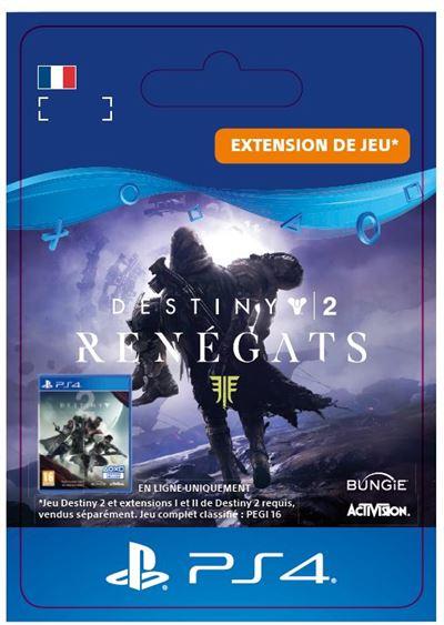 Code de téléchargement Destiny 2 Renégats PS4