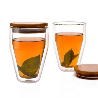 Set de 2 verres à thé Eparé double paroi avec couvercles