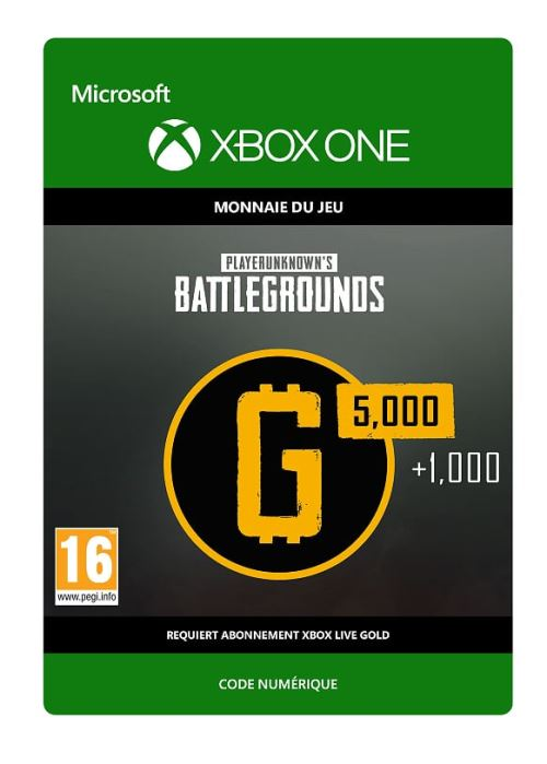 Code de téléchargement PlayerUnknown's Battlegrounds 6000 G-Coin Xbox One