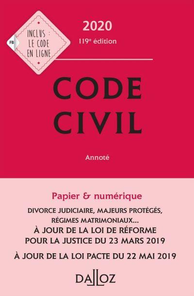 Code civil 2020, annoté - 119e éd. - 9782247193523 - 32,99 €
