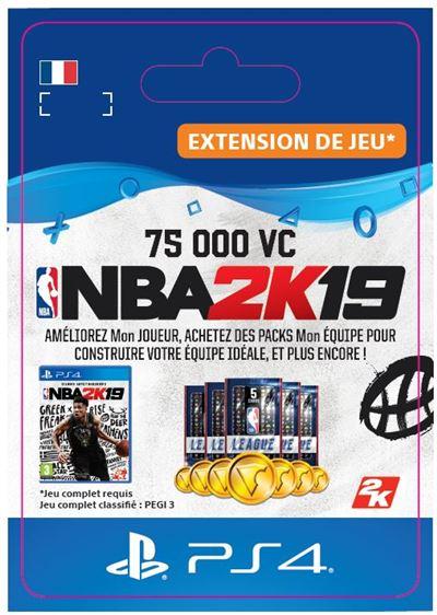 Code de téléchargement NBA 2K19 75000 VC PS4