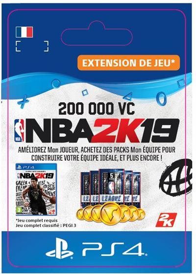 Code de téléchargement NBA 2K19 200000 VC PS4