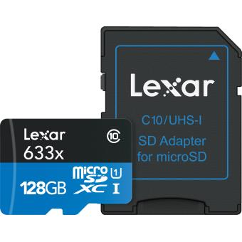 Carte Lexar Micro SDXC 128 Go 95 Mo/S + Adaptateur SD