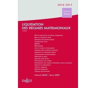 Liquidation des régimes matrimoniaux 2016/2017