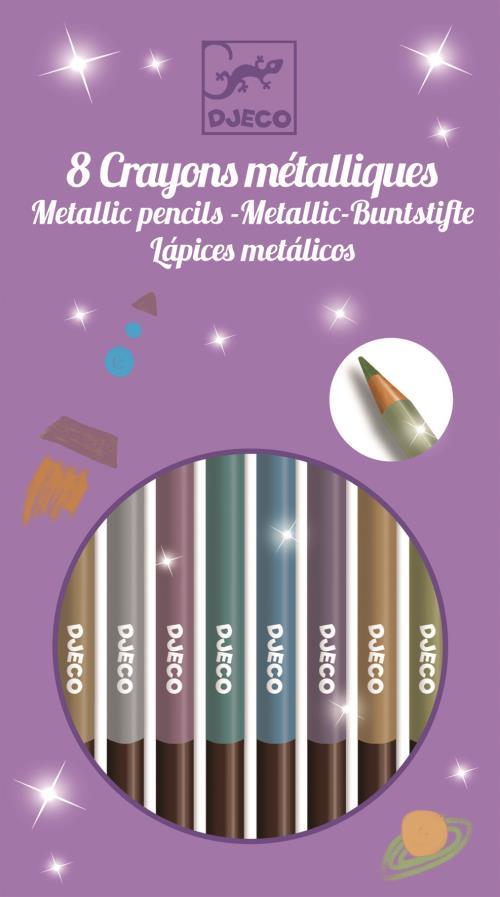 Set de 12 crayons métalliques Djeco