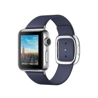 Apple Watch Series 2 38 mm Boîtier en Acier inoxydable avec Bracelet Boucle moderne Bleu Nuit Taille M