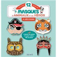 12 masques d'animaux et de héros à décorer
