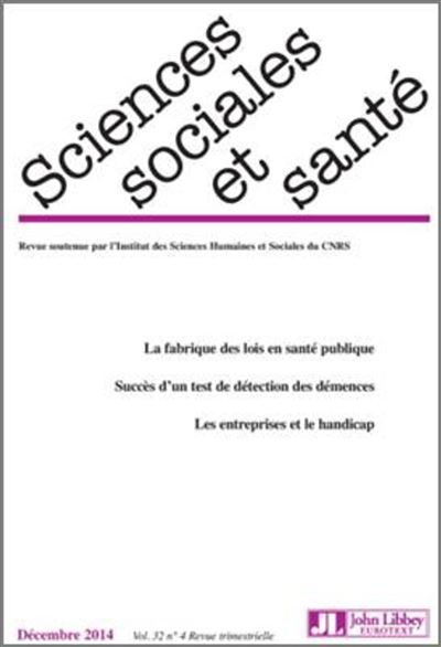 Revue Sciences sociales et santé - Vol 32 - N°4/2014