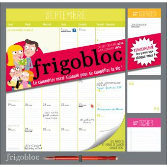 calendrier d 39 organisation familiale par mois frigobloc 2017 broch collectif achat livre. Black Bedroom Furniture Sets. Home Design Ideas