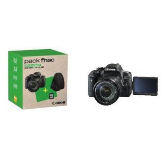 Pack Fnac Reflex Canon EOS 750D Noir + Objectif 18-135 mm + Fourre-tout + Carte mémoire SD