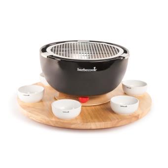 plateau tournant en bois barbecook 6 bols en c ramique accessoires pour barbecue et fumoir. Black Bedroom Furniture Sets. Home Design Ideas