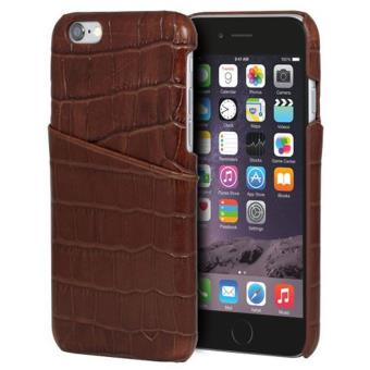 coque de protection avec porte cartes moxie croco pour iphone 6 et 6s en cuir marron etui pour. Black Bedroom Furniture Sets. Home Design Ideas