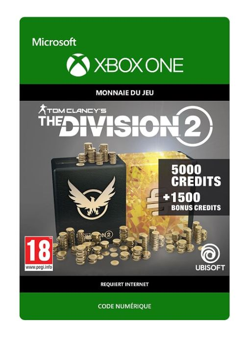 Code de téléchargement Tom Clancy's The Division 2: 6500 Premium Credits Pack Xbox One