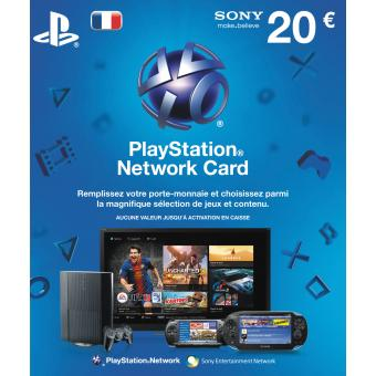 carte playstation network 20 accessoire console de jeux la fnac. Black Bedroom Furniture Sets. Home Design Ideas