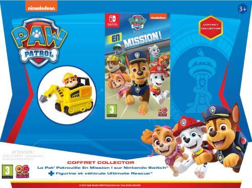 Pack La Pat' Patrouille en Mission ! Nintendo Switch + Figurine et Mini Jackhammer Rubble La Pat' Patrouille Ultimate Rescue Jaune