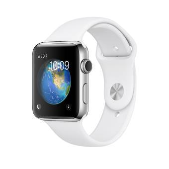 Apple Watch Series 2 38 mm Boîtier en Acier inoxydable avec Bracelet Sport Blanc