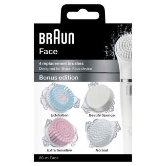 Set van 4 borsteltjes voor het gezicht Braun Face Silk-Epil 80-M