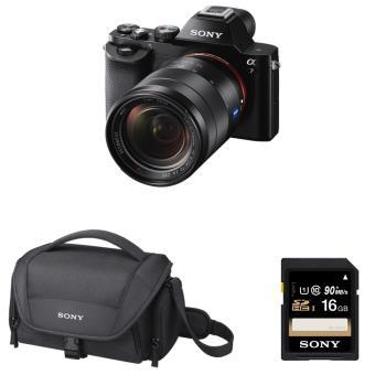 Pack Sony Hybride A7 + Objectief 28-70 mm f / 3.5-5.6 + Deksel + SD-geheugenkaart van 16 GB