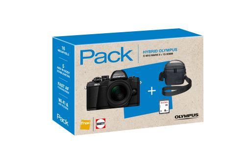 Pack Fnac Hybride Olympus E M10 Mark II Noir Objectif MZuiko Digital ED 12 50 mm 135 63 EZ Noir Fourre tout Carte mémoire SDHC 8 Go