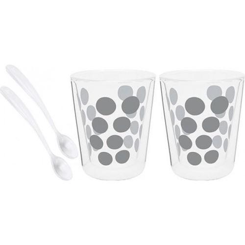 Set de 2 verres à café double paroi Dot Dot Zak! Designs 20 cl avec cuillères