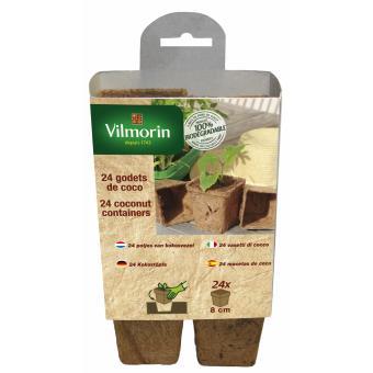 24 godets de coco carrés Vilmorin 8 cm