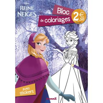 Coloriage Walt Disney Reine Des Neiges.Disney Princesses Bloc De Coloriages Avec Stickers La Reine Des
