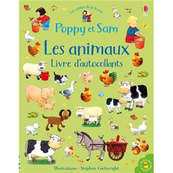 Poppy et SamLes animaux, Livre d'autocollants