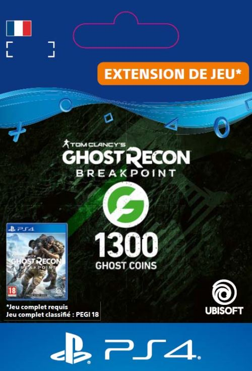 Code de téléchargement Ghost Recon Breakpoint 1300 Ghost Coins PS4