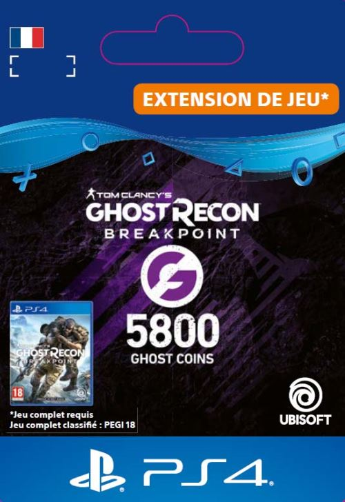 Code de téléchargement Ghost Recon Breakpoint 5800 Ghost Coins PS4