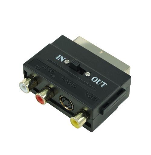 Adaptateur Temium Péritel commutable S Vidéo et RCA 1.5 m Noir