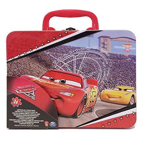 2 puzzles lenticulaires 24 pièces Cars 3 Grande Valisette métal Cardinal