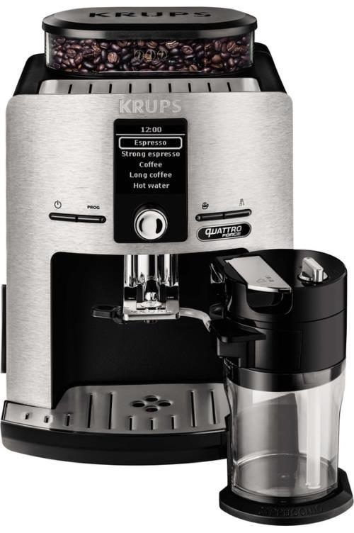 Expresso avec broyeur à grains Krups Latte'Espress Quattro Force EA82FD10 1450 W Argent et Noir