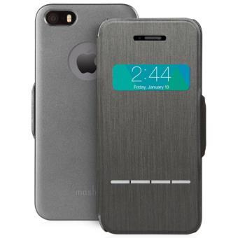 Coque a rabat tactile Moshi SenseCover pour iPhone 5 5s Noir Acier
