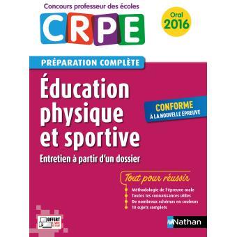 Education physique et sportive Epreuve orale - Concours professeur des écoles - 2016
