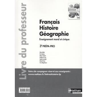 Francais Histoire Geographie 3eme Prepa Pro Professeur 2016