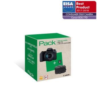 Pack Fnac Reflex Canon EOS 77D Noir + Objectif 18-135 mm f/3.5-5.6 IS USM + Fourre-tout + Carte SD 8 Go
