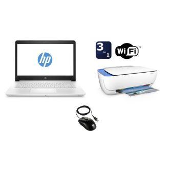 """PC Ultra-Portable HP 14-bp020nf 14"""" + Imprimante Deskjet 3632 Tout-en-un WiFi Blanche + Souris filaire X900 Noir"""