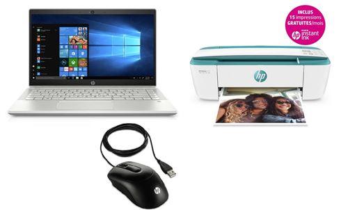 PC Ultra-Portable HP Pavilion 14-ce0035nf 14 + Imprimante multifonctions DeskJet 3735 Wifi Verte (Éligible Instant Ink - 15 impressions gratuites par mois) + Souris filaire X900 Noir