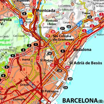 Carte Barcelone Et Ses Environs.Carte Costa Brava Environs De Barcelone Michelin
