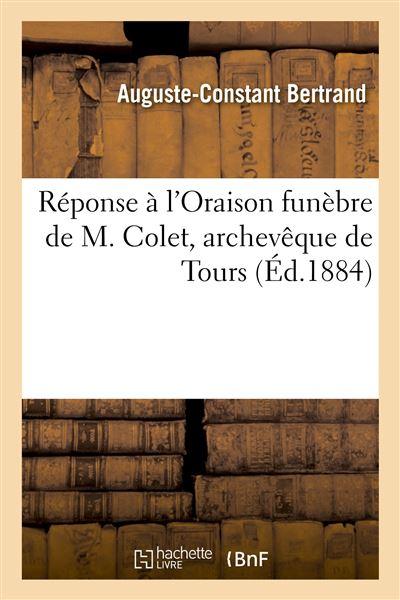 Réponse à l'Oraison funèbre de M. Colet, archevêque de Tours