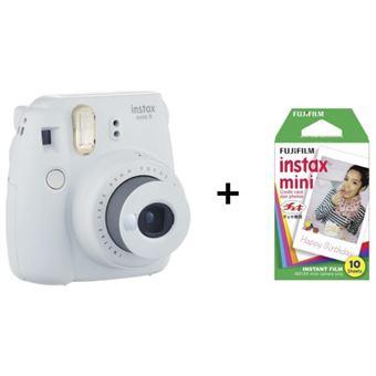 Fuji Instax Mini 9 Polaroid Camera Smoky White + Films + Party Glasses (PF)