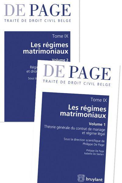 Traité de droit civil belge - Tome IX : Les régimes matrimoniaux