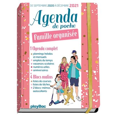 Calendrier De Poche 2021 Agenda de poche de la famille organisée 2021   Rose (de sept 2020