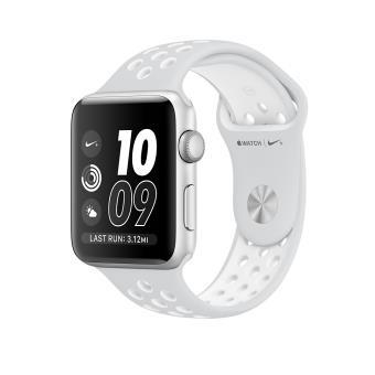 Apple Watch Nike+ 42 mm Boîtier en Aluminium Argent avec Bracelet Sport Platine pur Blanc