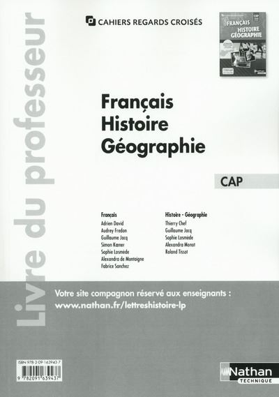 Français Histoire-Géographie Tome unique CAP Cahiers regards croisés CAP Livre du professeur