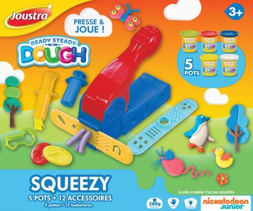 Kit créatif pâte à modeler Squeezy 5 Pots + Accessoires Joustra