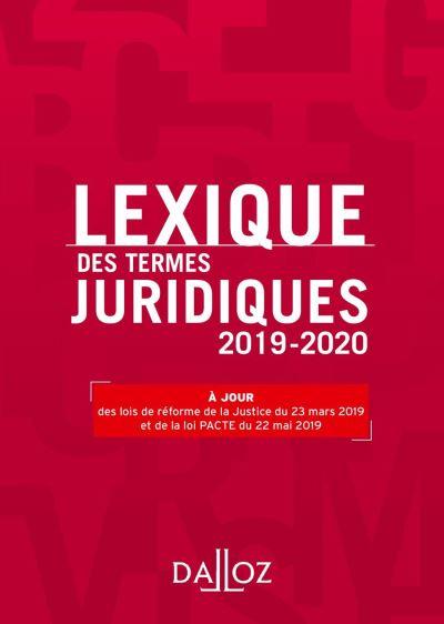 Lexique des termes juridiques 2019-2020 - 27e éd. - 9782247194131 - 13,99 €